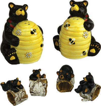 Four River's Edge Bear/Birch Napkin Rings Bundled with Beehive/Bear Salt and Pepper Shaker