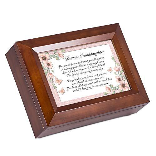 Cottage Garden Dearest Granddaughter Dark Wood Finish Jewelry Music Box - Plays Tune You are My Sunshine