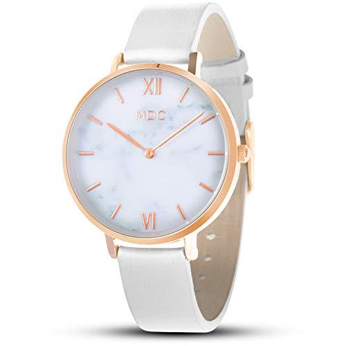 MDC Womens Ladies Leather Wrist Watch Minimalist Analog White Watches for Women Ultra Thin Slim Marble