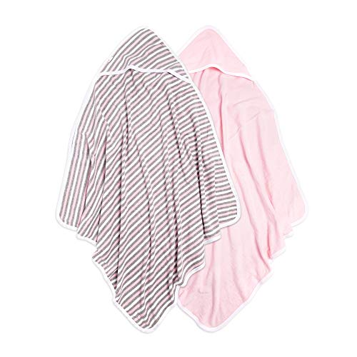 Burt's Bees Baby - Hooded Towels, Absorbent Knit Terry, Super Soft Single Ply, 100% Organic Cotton (Multi Stripe/Pink, 2-Pack) ()