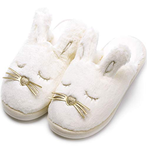 Cute Plush Bunny Animal Slippers for Women Indoor Outdoor Off-White