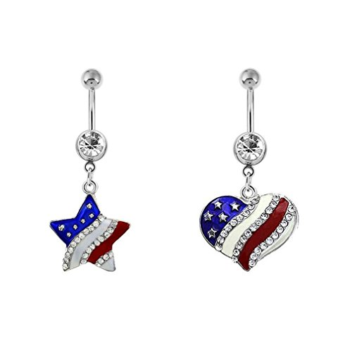 Heart Set Belly Button Ring - 3