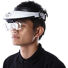Magnifying Glass,Headband 5 Lens Binoculars Third Hand Magnifier Light Jewelry Repair Reading Magnifying Glass dental loupes 2.5x 1.0x 1.5x 2.0x Microscope