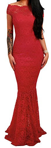PEGGYNCO Women Elegant Red Bardot Lace Fishtail Maxi Party Dress (Uk Jumpers Christmas H&m)