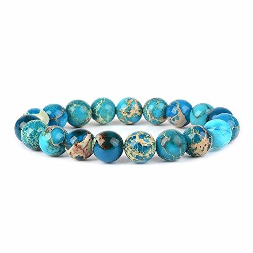 Blue Sea Sediment Jasper Gemstone 10mm Round Beads Stretch Bracelet 6.5' Unisex
