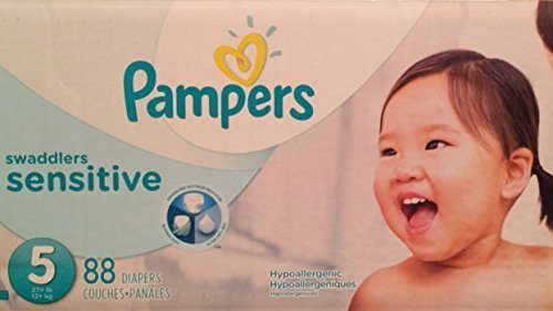 Pampers Swaddlers Sensitive Disposable Diapers (Pack of 88 Count) Size 5 (27+ Lbs) by Pampers