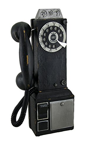 Resin Toy Banks Vintage Look Black Replica Pay Phone Coin Bank 5.5 X 12 X 2.5 Inches Black (Pay Phone)