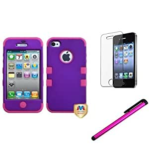 Cerhinu eForCity Rubberized Grape/Hot Pink TUFF Hybrid Case Cover + LCD Cover + Stylus compatible with iPhone? 4S/4