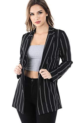 Women's Slim Fit One Button Office Knit Blazer Jacket,Made in USA (Small-3XL) (1XL, Stripe Jacket)