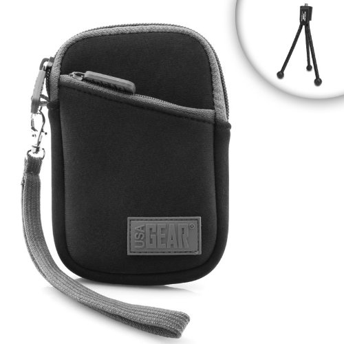 USA Gear Digital Camera Carrying Case with Belt Loop, Wrist Strap, Accessory Pocket - Compatible with Olympus Tough TG-5, TG-870, TG-4, TG-850 iHS, and More Olympus Cameras