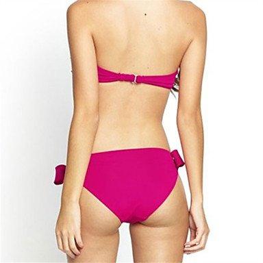 De las mujeres Bikini-Color ÚnicoCon Cordones-Poliéster Yellow