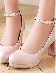 Women's Shoes Chunky Heel Heels/Platform/Round Toe Heels Office & Career/Dress Black/Blue/Pink/White