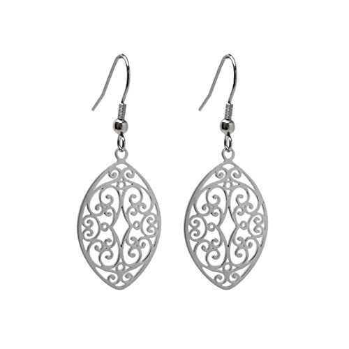 Almond Shaped Earrings - LD Silver Stainless Steel Filigree Oval Almond Dangle Earrings French Hook