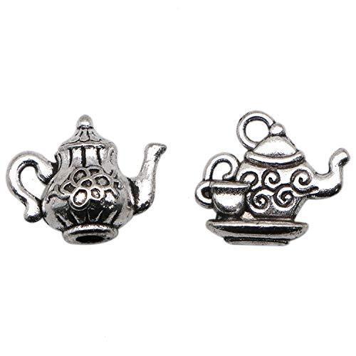 JETEHO 40pcs Antique Silver Tea Pot Charm - Flat&3D Style Kettle Pendant Teapot Charm for Pendant Bracelet Earring Jewelry - Antique Tea Charms Silver Pot