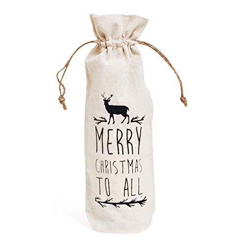 Jetty Home Merry Christmas Wine Bottle Gift Bag with Drawstring (Wine Bag Canvas compare prices)