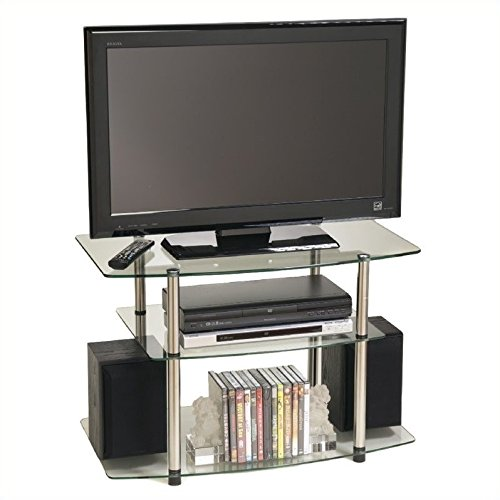 Convenience Concepts Designs2Go Go-Accsense Glass TV Stand for Flat Panel TV's Up to 32-Inch or 80-Pounds, Clear Glass