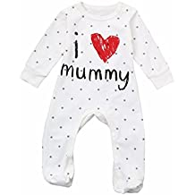 TiTCool Love Mummy Letter Baby Boys Girls Qute Long Sleeve Clothes Jumpsuit Romper