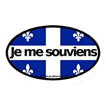 Je Me Souviens - I remember - Quebec Motto French Canada Flag Car Bumper Sticker Decal Oval