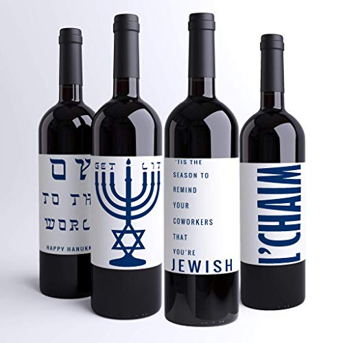 (Hanukkah Wine Labels Jewish Wine Bottle Labels (Pack of 4) Holiday Dinner Party or | Judaica Custom Printed Wine Labels | Chanukah Party | Menorah Oy To The World Funny Decor)