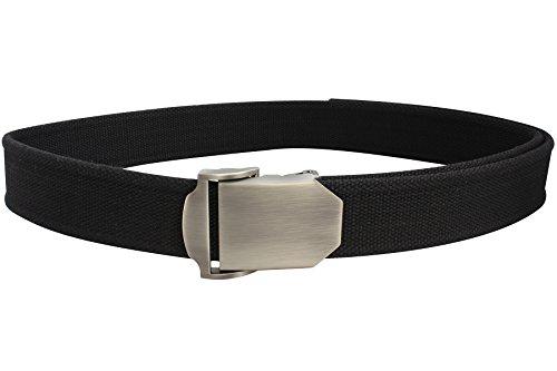 Bison Designs Flat Iron USA Made 38mm Active Webbing Full Steel and Zinc Double Adjust Buckle Belt, Pontoon Black, Medium/38-Inch Waist