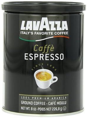 Lavazza Caffe Espresso Ground Coffee Blend, Medium Roast, 8-Ounce Cans