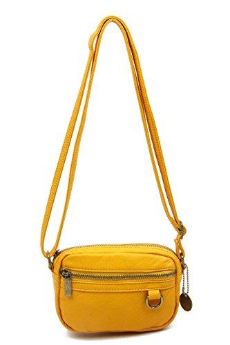 Small Crossbody Bag Wallet Purse Handbag Vegan Leather by Ampere Creations (Honey Mustard)