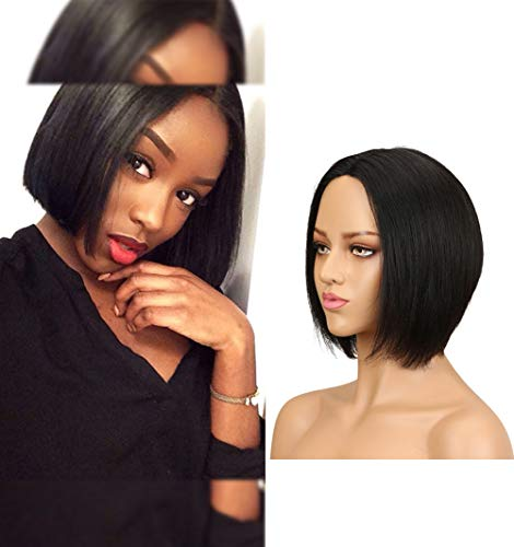 Lace Front Bob Wigs Human Hair Straight Brazilian Virgin Hair Sew In Wet And Wavy Natural Color Shrot Wigs 150 Density 13x4 Lace Base Pre Plucked Human Hair Wigs On Sale(Mideele Part,8 Inch)