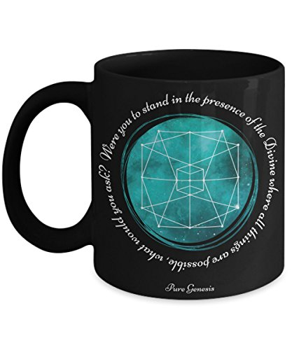 Were you to stand in the presence of the Divine where all things are possible, what would you ask? Meditation gift mug by Pure Genesis black coffee cup