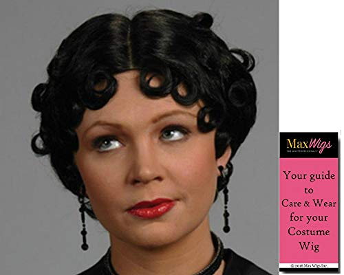 Betty Boop Flapper color Black - Enigma Wigs Short Curly Fingerwave Cartoon 1920s Wavy Girl Bundle MaxWigs Costume Wig Care Guide -