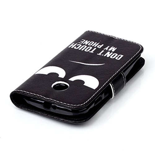 Trumpshop Smartphone Carcasa Funda Protección para Motorola Google Nexus 6 + Dont Touch My Phone (enojado) + PU Cuero Caja Protector con Ranuras para Tarjetas Choque Absorción Dont Touch My Phone (enojado)