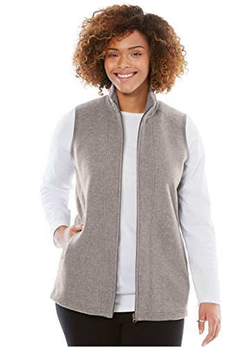 Woman Within Plus Size Microfleece Zip-Front Vest - Medium Heather Grey, 1X