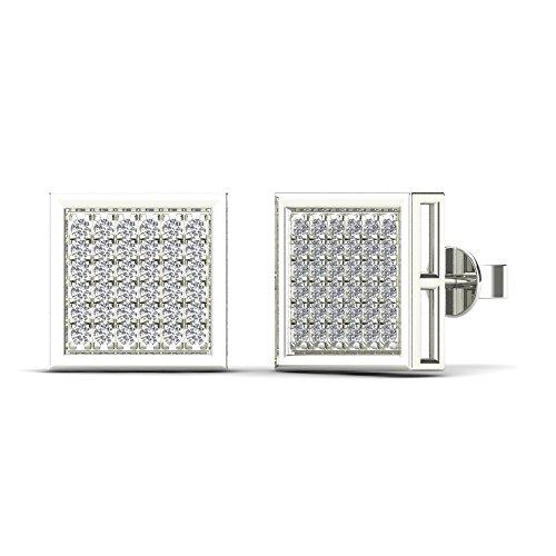 JewelAngel Women's 10K White Gold Diamond 1/5ct TDW Square Stud Earrings (H-I, (Tdw Diamond Square Earrings)