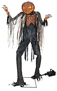 UHC Scary Scorched Scarecrow w/ Fog Machine Animated Decoration Halloween Prop