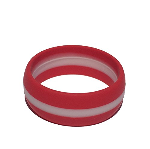 Tough Love Rings - STRIPED RED/WHITE - Thick Band - Size (Marine White Ring)