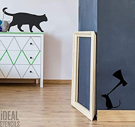 SIZE 1 See Images Katze /& Maus mit Axt Schablone startseite-wand-dekor Wandfarbe Stoff und M/öbel Innenraum aussen halb transparent Schablone