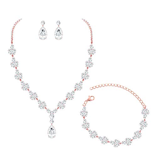 YSOUL CZ Rhinestone Necklace Earrings Bracelet Jewelry Set for Prom Wedding Bridal Bridesmaid (Rose Gold)