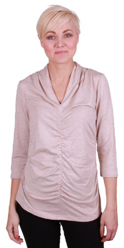 Rafaella 3/4 Sleeve, V-neck, Ruched Shimmer Top (small, Ivory/Gold) - Ruched Shimmer