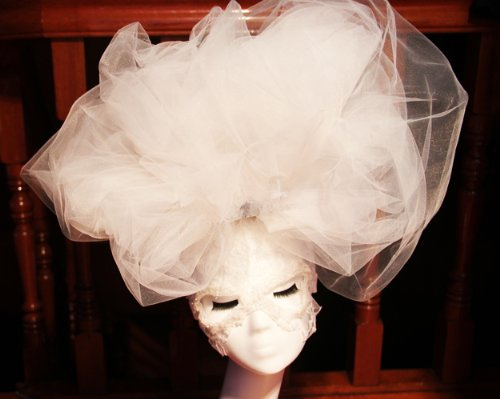 White Large Cloud Hat Hair Clip Lace Mask - Drag Queen Costumes