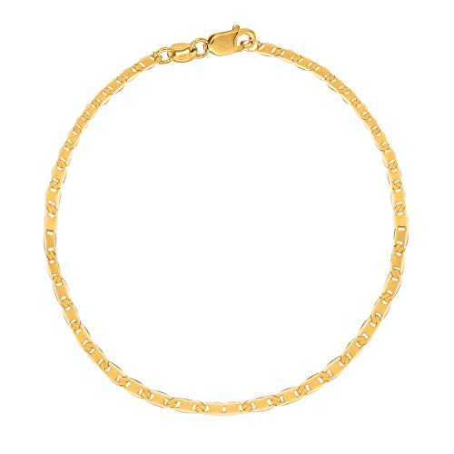 - Ritastephens 10k Solid Yellow Gold Mariner Link Chain Ankle Anklet 10 Inches