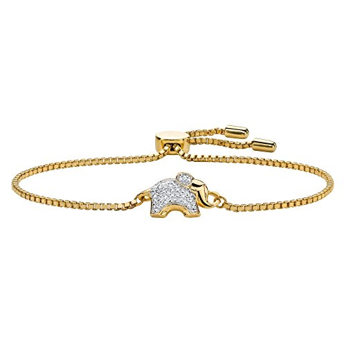 Seta Jewelry White Diamond Accent 18k Gold-Plated Elephant Charm Adjustable Drawstring Bracelet 9
