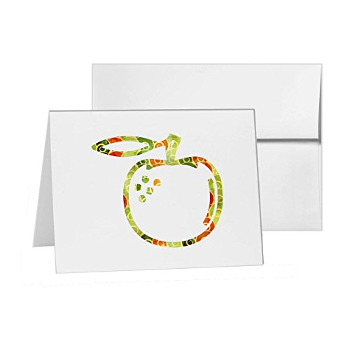 Orange Apple Food Fruit Health, Blank Card Invitation Pack, 15 cards at 4x6, Blank with White Envelopes Style 14575 (Sending Fruit In The Mail)