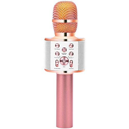 Party Microphone (VERKB Wireless Karaoke Microphone Speaker Q10 Plus, Portable Bluetooth Singing Machine With Accompany&Record Function for iPhone Android Smartphone Party Kids Valentine's Day Gift(Rose Gold))