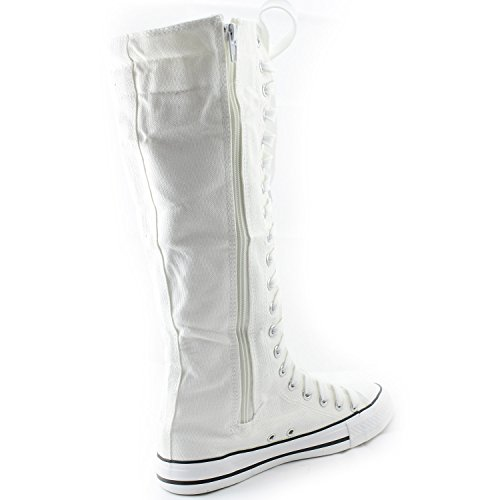 Flat Sneaker Boots Canvas Casual Sky Women's Tall Calf White DailyShoes Punk Mid Blue XgRBz0W
