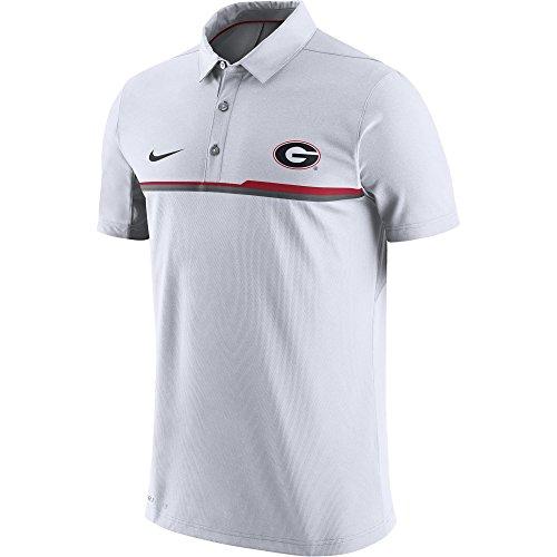 Georgia Bulldogs Men's Nike Elite Coaches Sideline Performance Polo (White, Large) (Nike Coaches Gear)