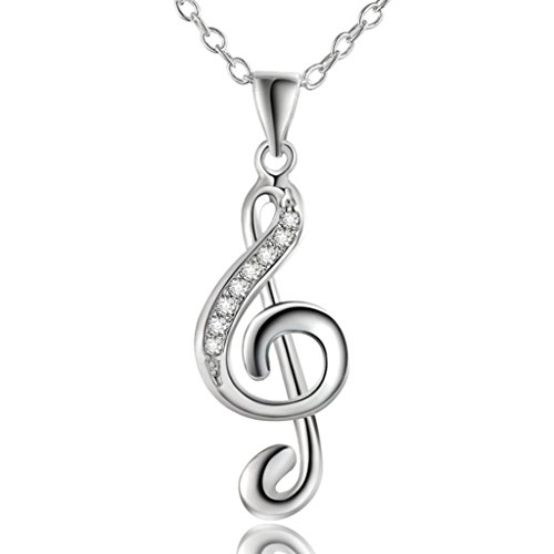 Alixy Alixyz Mother's Day Gift, Women Fashion Pendant Chic Treble G Clef Music Note Jewelry Charm Necklace Gift (Silver, (Happy Halloween Music Notes)