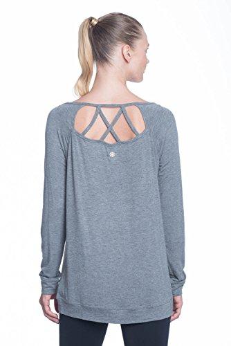 Gaiam Women's Ruby Long Sleeve Tunic - Workout Top for Women - Flint Grey Heather, Small Flint Grey Apparel