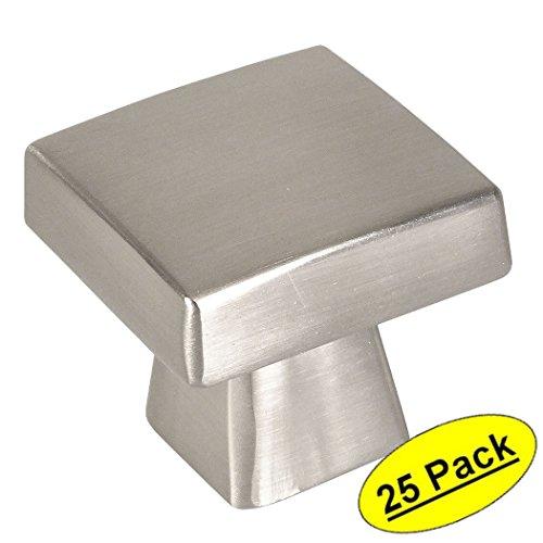 Contemporary Square Knob - Cosmas 5233SN Satin Nickel Contemporary Square Cabinet Knob - 25 Pack