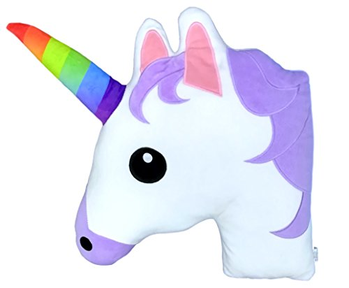 Monqiqi Unicorn Throw Pillow, 14 Emoji Plush Pillow for Couch, Home Decorations and Birthday Party Supplies Favors, Unicorn Shape