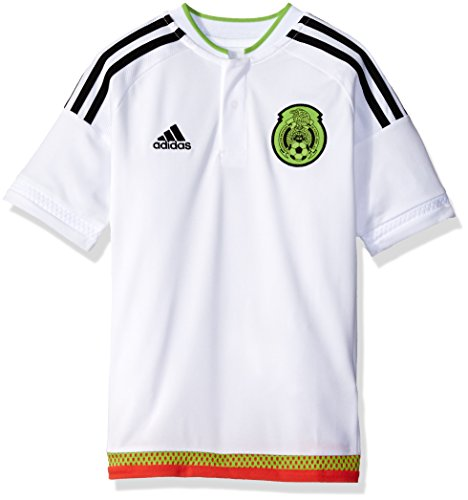 adidas Boys' Soccer Youth Mexico Jersey, White/Black, Large