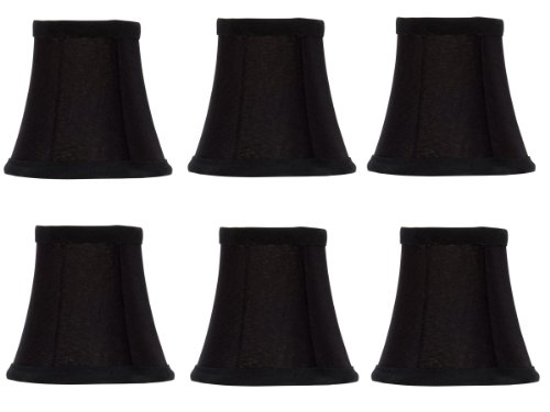 Black Shades Silk Chandelier (Upgradelights Set of 6 Chandelier Lamp Shades English Barrel 4 Inch Black Silk with Gold Lining 2.5x4x3.75)